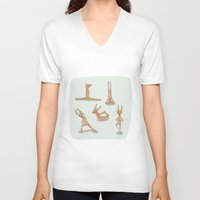 nirvana V-neck T-shirts featuring Yoga deer attain nirvana by Shawn Carney Art
