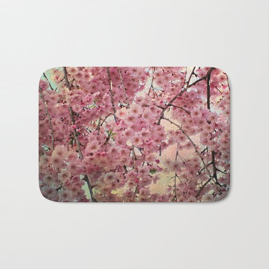 Raining Cherry Blossoms - Painterly Abstract Bath Mat
