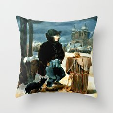 Pretzel-boy, after Peter Fendi Throw Pillow