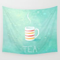 tea Wall Tapestries featuring Tea by Freeminds