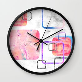 Watercolor Geometric Print Pattern Pink Contemporary Squares Wall Clock