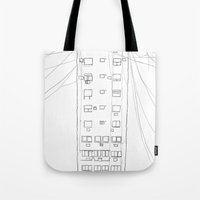 building Tote Bags featuring building by STUPIDkid