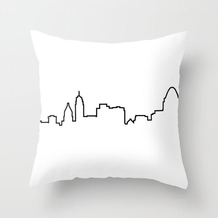 Cincinnati, Ohio City Skyline Silhouette Throw Pillow