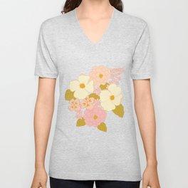 Pink Pastel Vintage Floral Pattern Unisex V-Neck