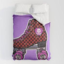 Purple roller skates, retro red checkered skates, skull heart Comforters