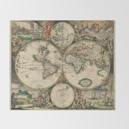 Vintage Map of the world Throw Blanket