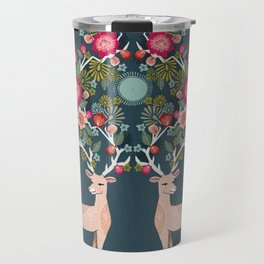 Deer with Flowers by Andrea Lauren  Travel Mug