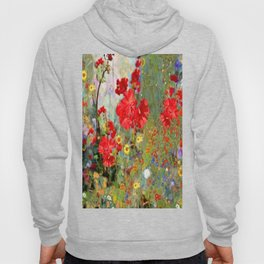 Red Geraniums in Spring Garden Landscape Painting Hoody