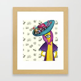 Banana with Robot Hat Framed Art Print