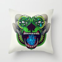 mythology Throw Pillows featuring Artificial Mythology by Diligence