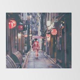 Geisha In Kyoto Throw Blanket