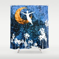 neverland Shower Curtains featuring Peter Pan flying through Neverland by Chien-Yu Peng