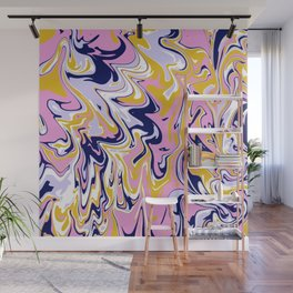 pink, navy & gold marble Wall Mural