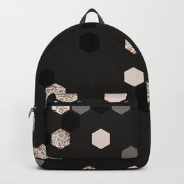 Geometrical pink black gray gold honeycomb pattern Backpack