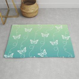 Light Blue and Green Butterflies Pattern Rug