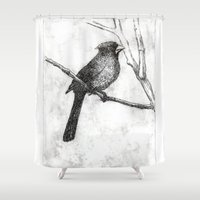 cardinal Shower Curtains featuring Cardinal by Rebecca Joy - Joy Art and Design
