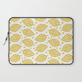 Mid Century Modern Falling Leaves Pattern Mustard Yellow 2 Laptop Sleeve
