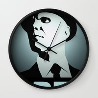 fringe Wall Clocks featuring OBEY (Fringe) by Matheus Lopes