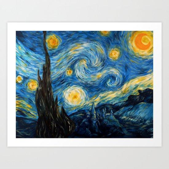 A Starry Night at Hogwarts Art Print