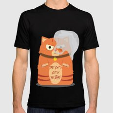 The Cat's Out of the Bag Black Mens Fitted Tee MEDIUM