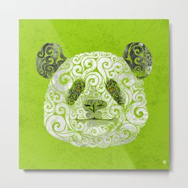 Swirly Panda Metal Print