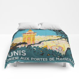 Tunis Tunisia - Vintage Africa Travel Poster Comforters