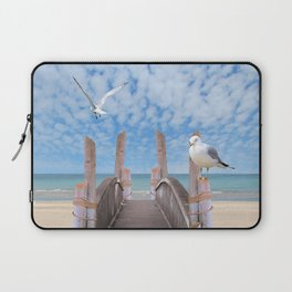 Dock on Beach with Seagulls A340 Laptop Sleeve