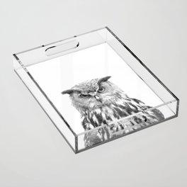 Black and white owl animal portrait Acrylic Tray