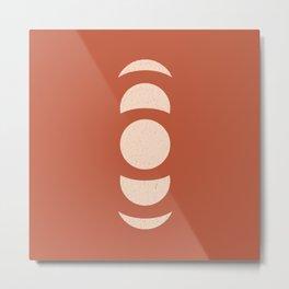 Abstract Moon Phases terracota Metal Print