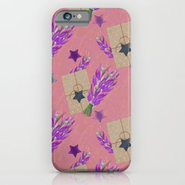 Lavender bouquet, craft card and stars. iPhone Case