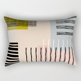 Abstract Funky Geometric Print with Organic Shapes and Stripes Rectangular Pillow