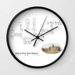 Hudson River State Hospital Blueprint Print Wall Clock