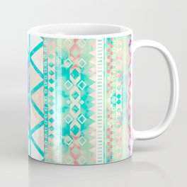 Pink Teal Aztec Pattern Triangles Girly Watercolor Coffee Mug