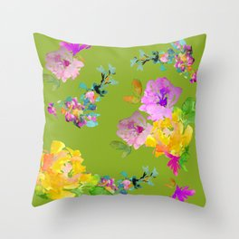 Bright Watercolor Floral Pattern Throw Pillow