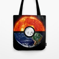 pokeball Tote Bags featuring Galaxy Pokeball by Advocate Designs