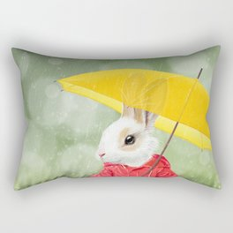 It's raining, little bunny! Rectangular Pillow