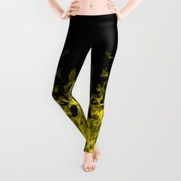 Yellow Flame on Black Leggings