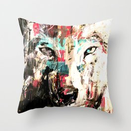 Silverwolf, wolf, painting, wolfpack. Throw Pillow