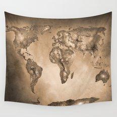 Stars world map. Sepia Wall Tapestry