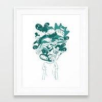 studio ghibli Framed Art Prints featuring Studio ghibli mash up by Herdhi