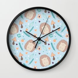 Cute hedgehogs pattern Wall Clock