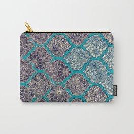 Moroccan Floral Lattice Arrangement - teal Carry-All Pouch