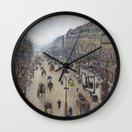 Camille Pissarro  -  Boulevard Montmartre  Morning  Cloudy Weather Wall Clock