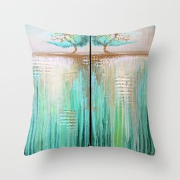 Trees in Green Landscape Throw Pillow