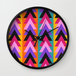 Multicolored arrows and bright stripes Wall Clock