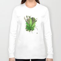 weed Long Sleeve T-shirts featuring Weed Leaf by Spooky Dooky