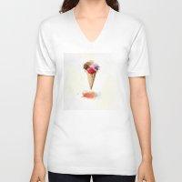 ice cream V-neck T-shirts featuring Ice cream by emegi