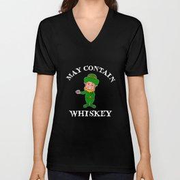 May Contain Whiskey May Contain Whiskey Drinker Single Malt Bourbon Unisex V-Neck