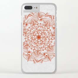 Rust Red Mandala on Japanese Rice Paper Clear iPhone Case