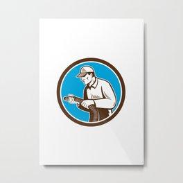 Home Insulation Technician Retro Circle Metal Print